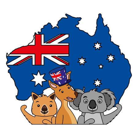 Illustration pour kangaroo koala wombat and emu australian flag map vector illustration - image libre de droit