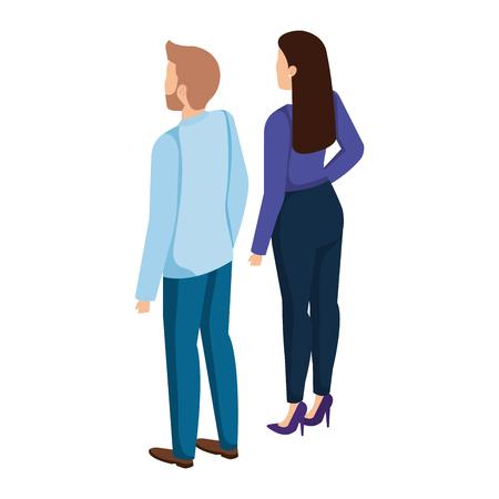 Illustration pour business couple back avatars characters vector illustration design - image libre de droit