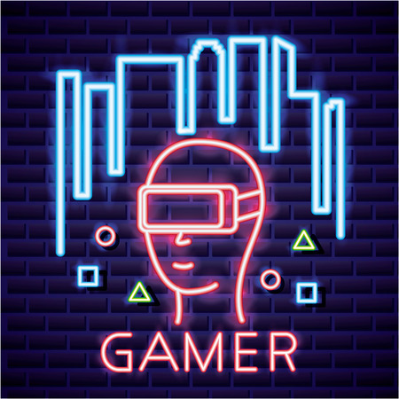 Illustration pour glass of virtual reality video game symbols background vector illustration - image libre de droit