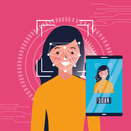 Ilustración de woman smartphone scan process identification vector illustration - Imagen libre de derechos