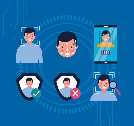 Ilustración de woman face scan mobile approved error vector illustration - Imagen libre de derechos
