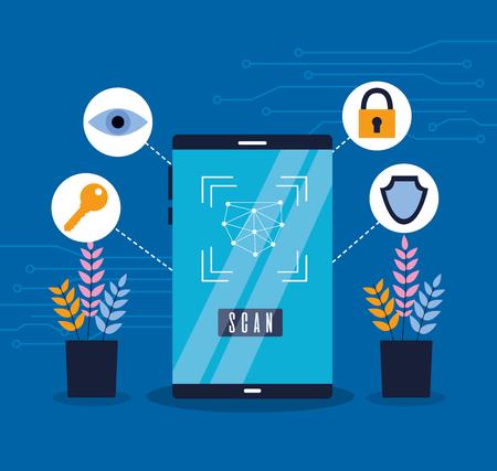 Ilustración de smartphone biometric scan eye security vector illustration - Imagen libre de derechos