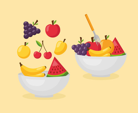 Illustration for healthy food fresh bowls with fruits vector illustration - Royalty Free Image