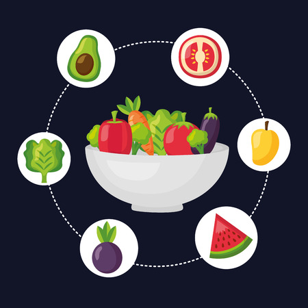 Illustration for bowl with vegetables fruits healthy food vector illustration - Royalty Free Image