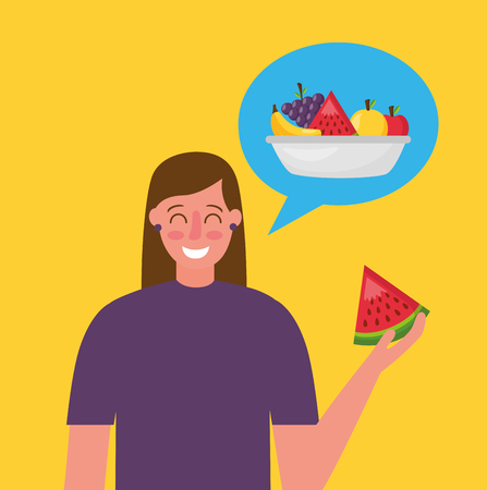 Illustration for woman holding watermelon thinking healthy food vector illustration - Royalty Free Image