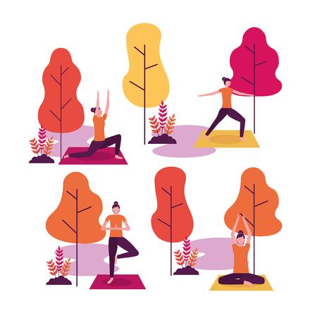 Ilustración de yoga activity park collage woman relaxation vector illustration - Imagen libre de derechos