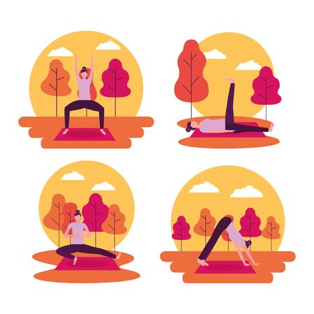 Ilustración de stickers woman doing outdoor yoga activity vector illustration - Imagen libre de derechos