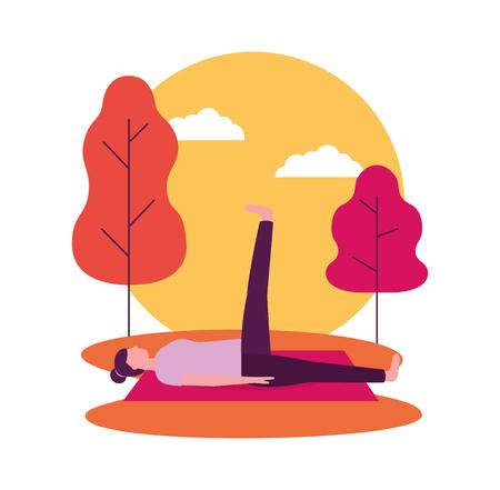 Ilustración de sunset sticker woman yoga activity vector illustration - Imagen libre de derechos
