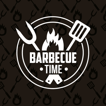 Illustration for sticker fork spatula fire barbecue time vector illustration - Royalty Free Image