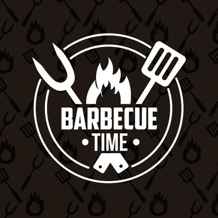 Ilustración de sticker fork spatula fire barbecue time vector illustration - Imagen libre de derechos