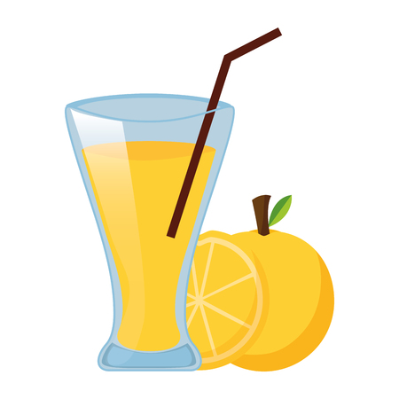 Illustration for orange juice cup with straw vector illustration - Royalty Free Image