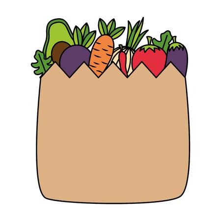 Illustration for healht food grocery bag vegetable vector illustration - Royalty Free Image