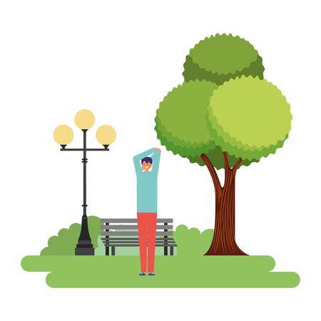 Ilustración de man stretching daily routine in the park vector illustration - Imagen libre de derechos