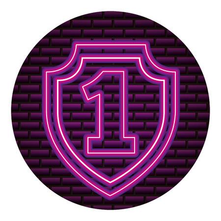 Ilustración de shield number one neon brick wall vector illustration vector illustration - Imagen libre de derechos