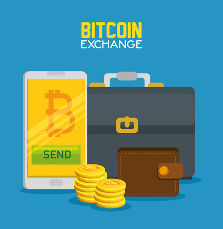 Illustration pour smartphone with bitcoin currency and briefcase with wallet vector illustration - image libre de droit