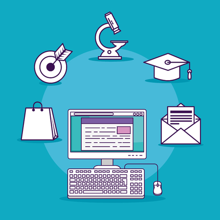 Illustration for computer technology with digital document and letter message vector illustration - Royalty Free Image