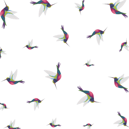 Ilustración de beautiful hummingbirds pattern background vector illustration design - Imagen libre de derechos