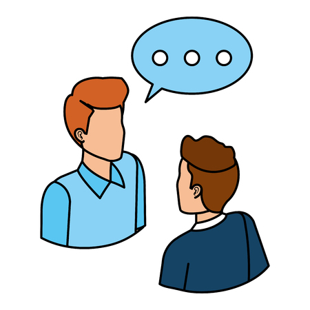 Ilustración de couple of men with speech bubble vector illustration design - Imagen libre de derechos