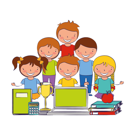 Illustration for kids with laptop trophy book and calculator back to school vector illustration - Royalty Free Image