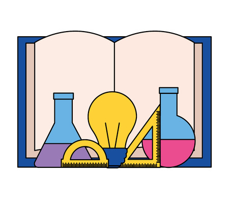 Illustration for book test tube bulb ruler back to school vector illustration - Royalty Free Image