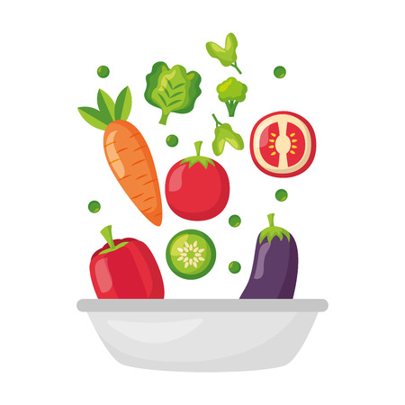 Illustration for bowl with vegetables healthy food vector illustration - Royalty Free Image