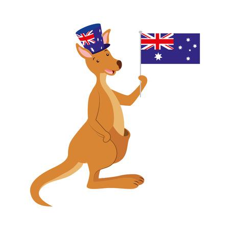 Illustration for kangaroo with  hat australian flag celebration vector illustration - Royalty Free Image