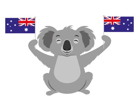Ilustración de cute koala with two australian flags vector illustration - Imagen libre de derechos