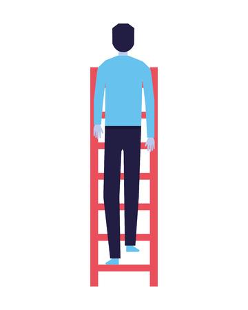 Illustration pour businessman climbing stairs white background vector illustration - image libre de droit