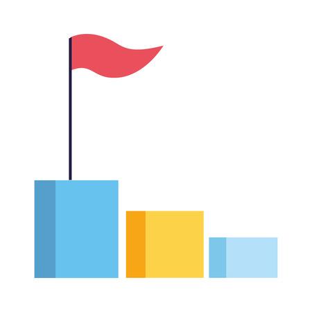 Ilustración de business chart bar with flag vector illustration - Imagen libre de derechos