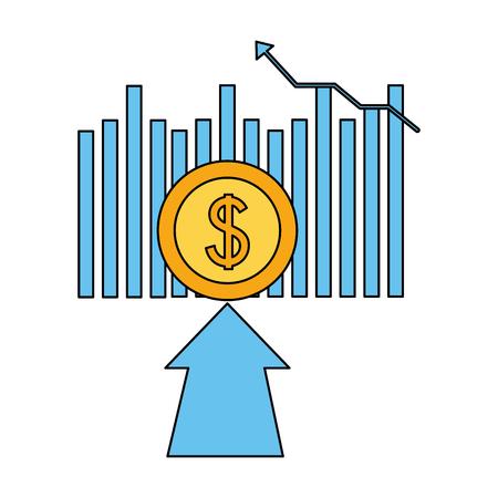 Illustration pour business financial arrow coin money vector illustration - image libre de droit