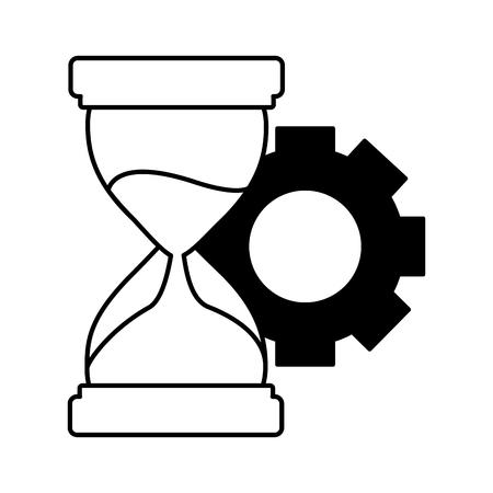 Ilustración de business hourglass and gear white background vector illustration - Imagen libre de derechos