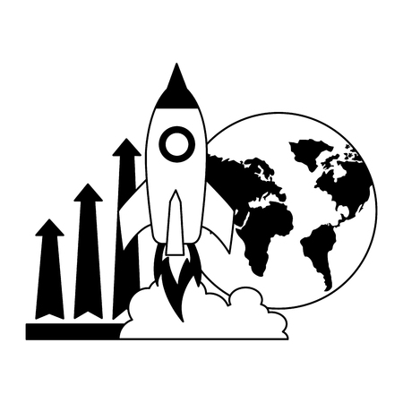 Illustration for business world rocket and arrow growth vector illustration - Royalty Free Image