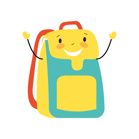 Illustration for happy cartoon school backpack character vector illustration - Royalty Free Image