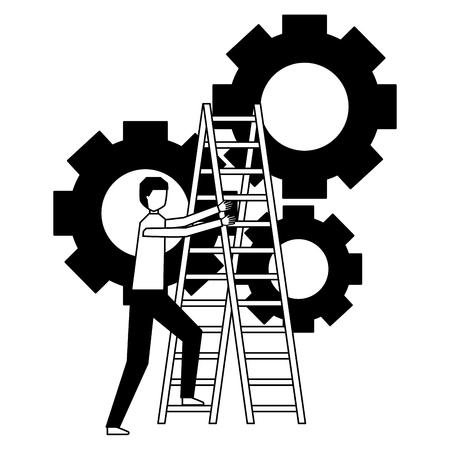 Illustration pour business man climb stairs gears work vector illustration - image libre de droit