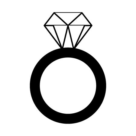 Ilustración de golden ring with diamond valentine day vector illustration monochrome - Imagen libre de derechos