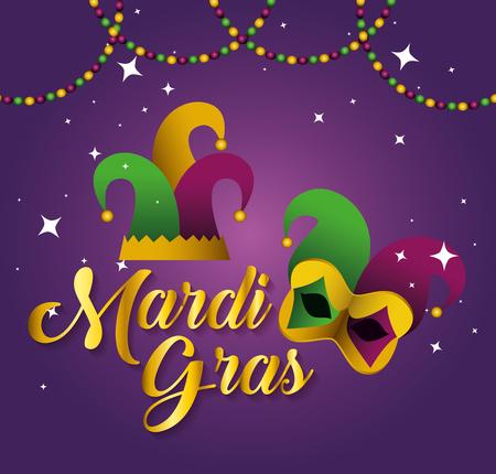 Ilustración de mardi gras with party hat and mask vector illustration - Imagen libre de derechos