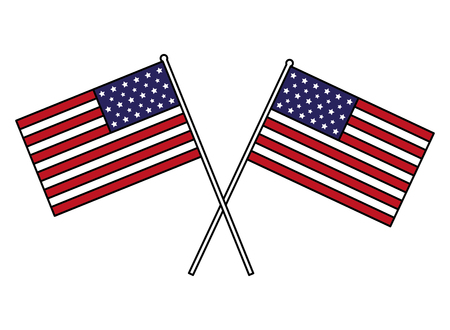 Illustration pour crossed american flags happy presidents day vector illustration - image libre de droit
