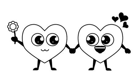Photo pour couple hearts with flower happy valentines day vector illustration - image libre de droit