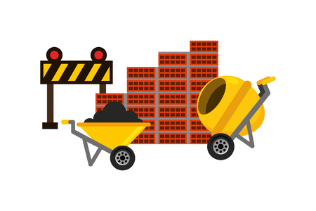 Illustration pour wheelbarrow mixer barrier and wall brick construction equipment vector illustration - image libre de droit
