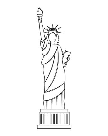 Ilustración de statue of liberty new york city landmark vector illustration - Imagen libre de derechos