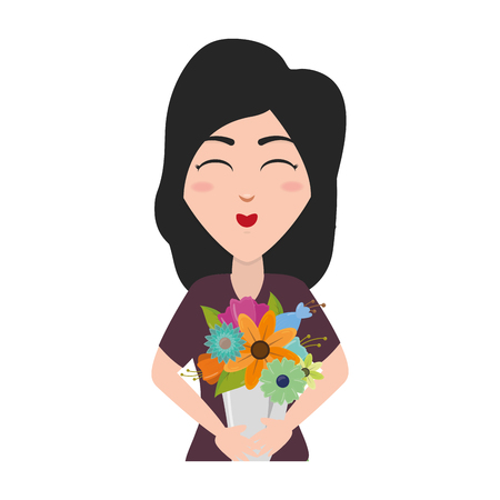 Illustration for happy woman with bouquet flowers vector illustration - Royalty Free Image