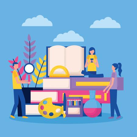 Illustration pour education books colors plant supplies school vector illustration - image libre de droit