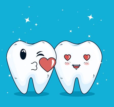 Ilustración de teeth helathcare with hygiene medicine treatment vector illustration - Imagen libre de derechos