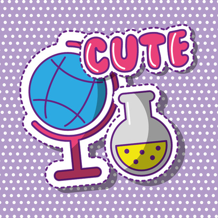 Illustration for cute school globe and test tube with dots background vector illustration - Royalty Free Image
