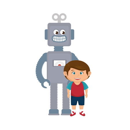 Illustration pour little boy with robot toy vector illustration design - image libre de droit
