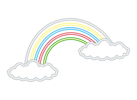 Illustration for rainbow clouds fantasy light neon vector illustration - Royalty Free Image