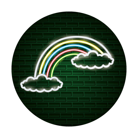 Illustration for rainbow clouds fantasy light neon vector illustration - Royalty Free Image