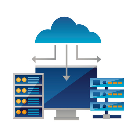 Illustration pour cloud computing monitor case database vector illustration - image libre de droit