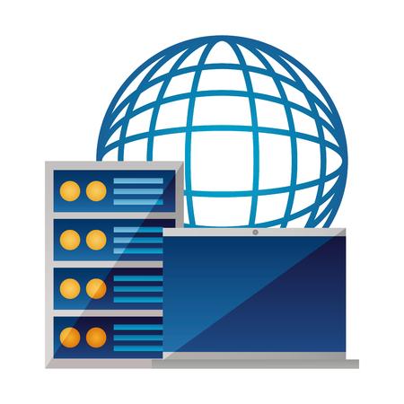 Ilustración de laptop computer case world digital vector illustration - Imagen libre de derechos
