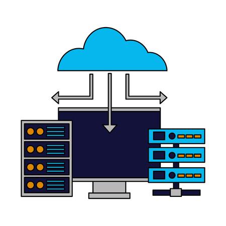 Illustration pour cloud computing monitor case database vector illustration - image libre de droit